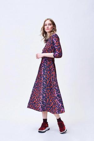 jurk met dierenprint rood/roze/zwart/blauw