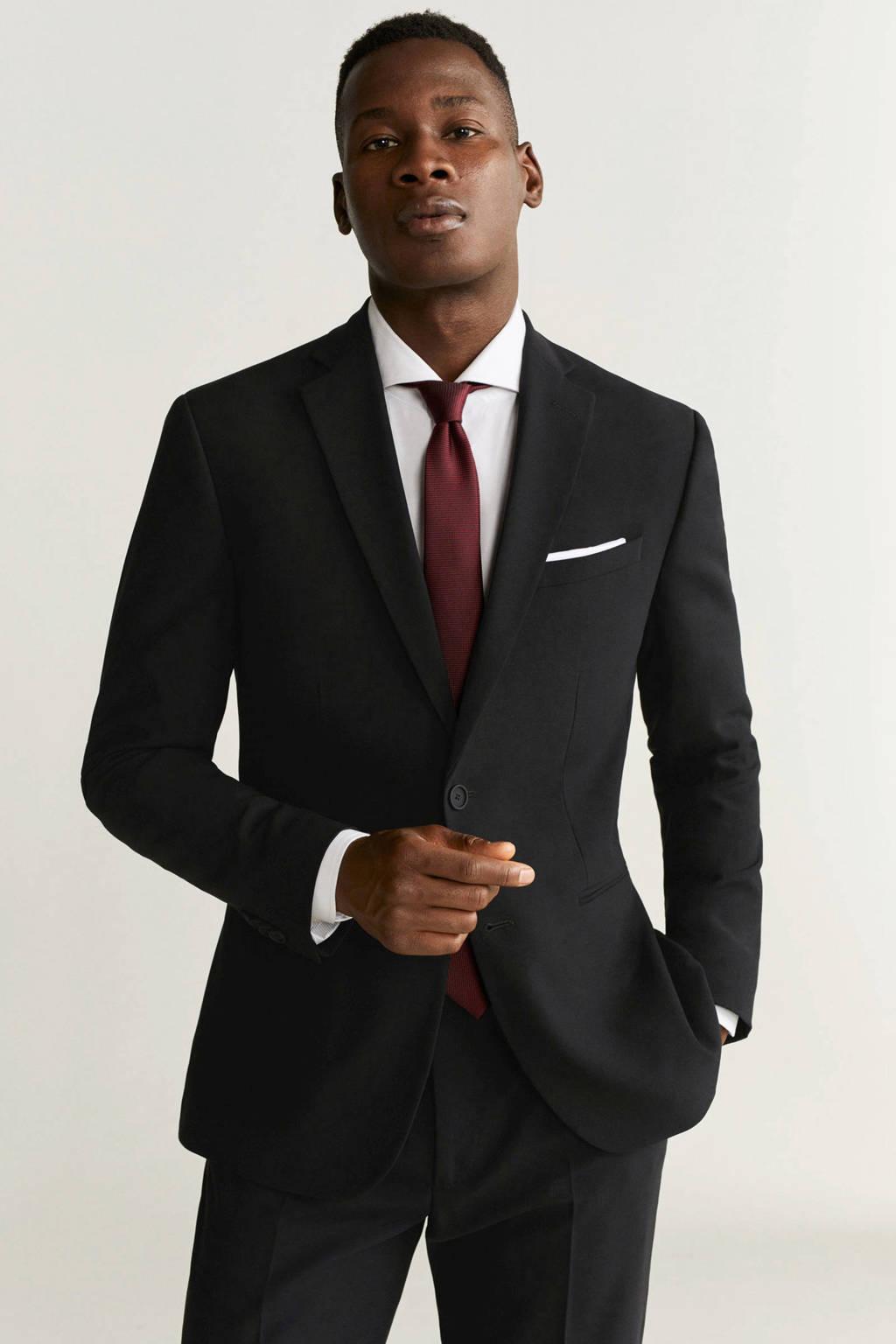 Mango Man slim fit colbert met wol zwart, Zwart