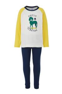 Petit Bateau   pyjama met print van een hond, Donekrblauw/ groen/ geel/ groen/ off white