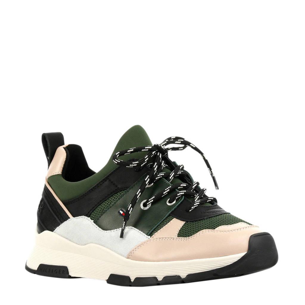 Tommy Hilfiger  Sporty Chunky leren sneakers groen/roze, Groen/roze