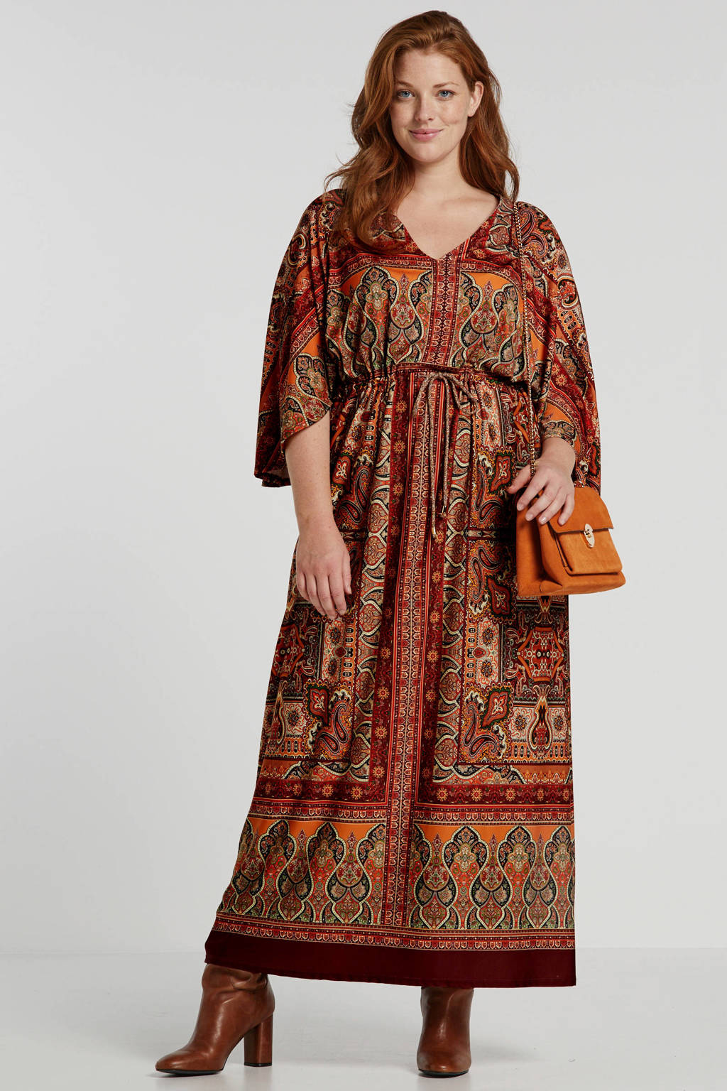 October jersey maxi jurk met all over print oranje, Camel