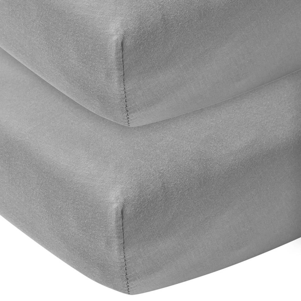 Meyco katoenen jersey hoeslaken co-sleeper 50x90 cm (set van 2) grijs, Grijs