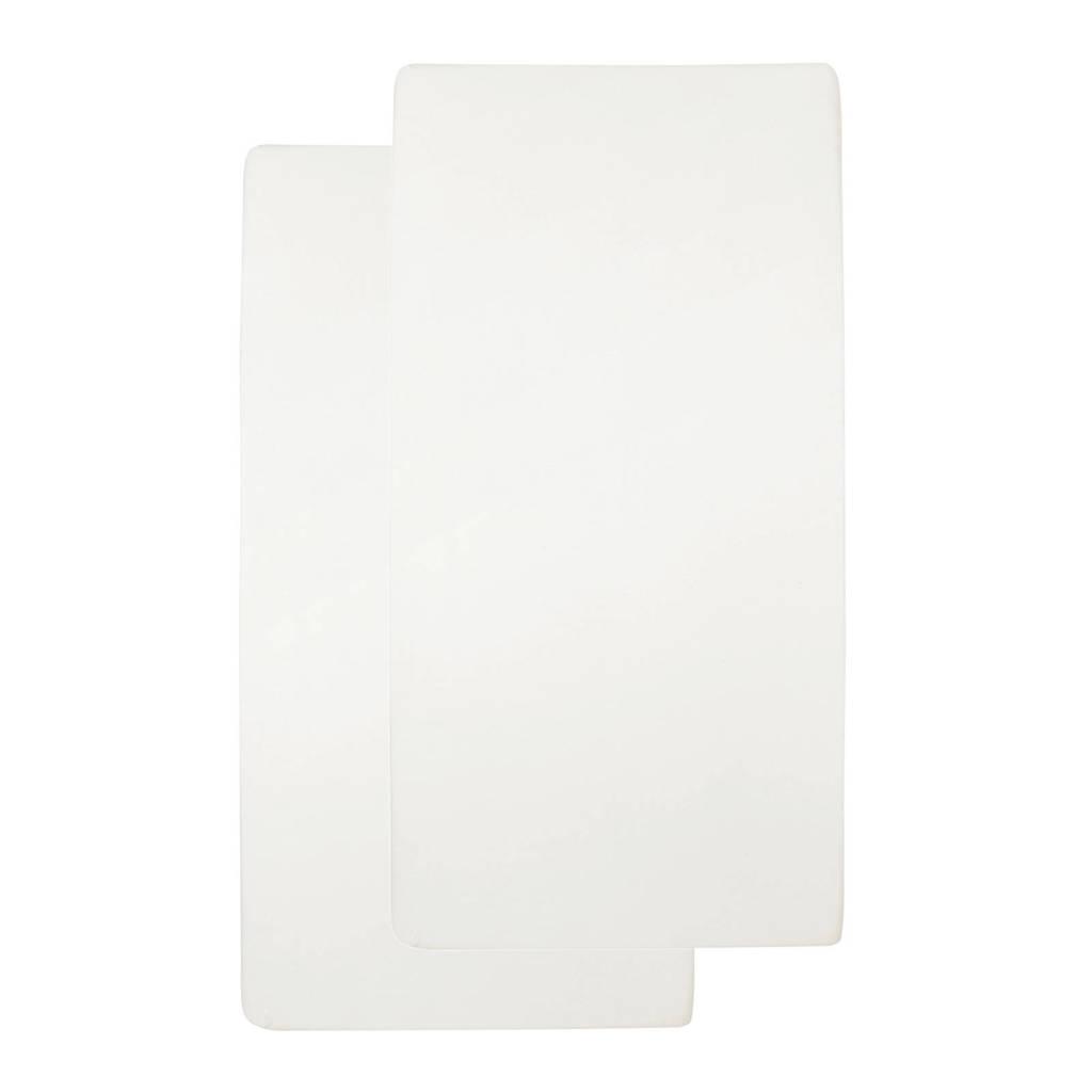 Meyco katoenen jersey hoeslaken wieg 40x80/90 cm (set van 2) offwhite, Offwhite