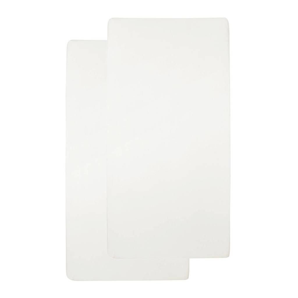 Meyco katoenen jersey hoeslaken ledikant 60x120 cm (set van 2) offwhite, Offwhite