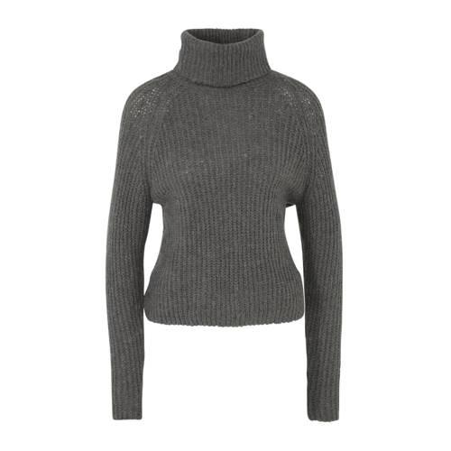 ONLY grofgebreide trui met wol grijs