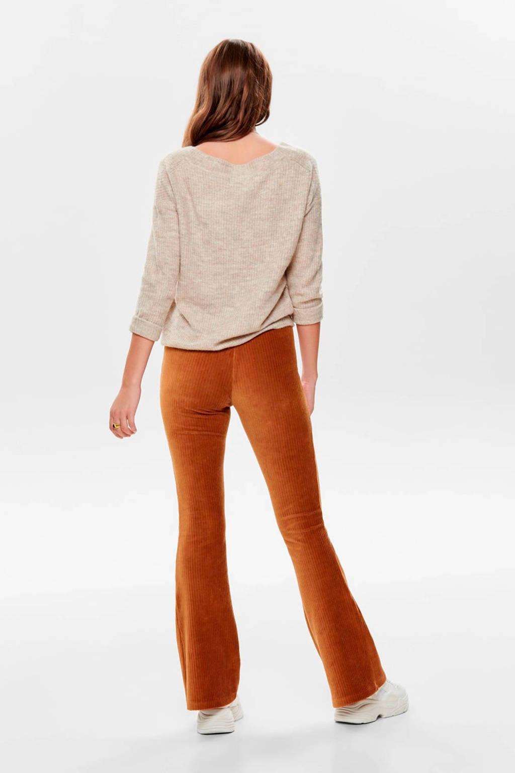ONLY velours high waist flared broek oranje, Bruin