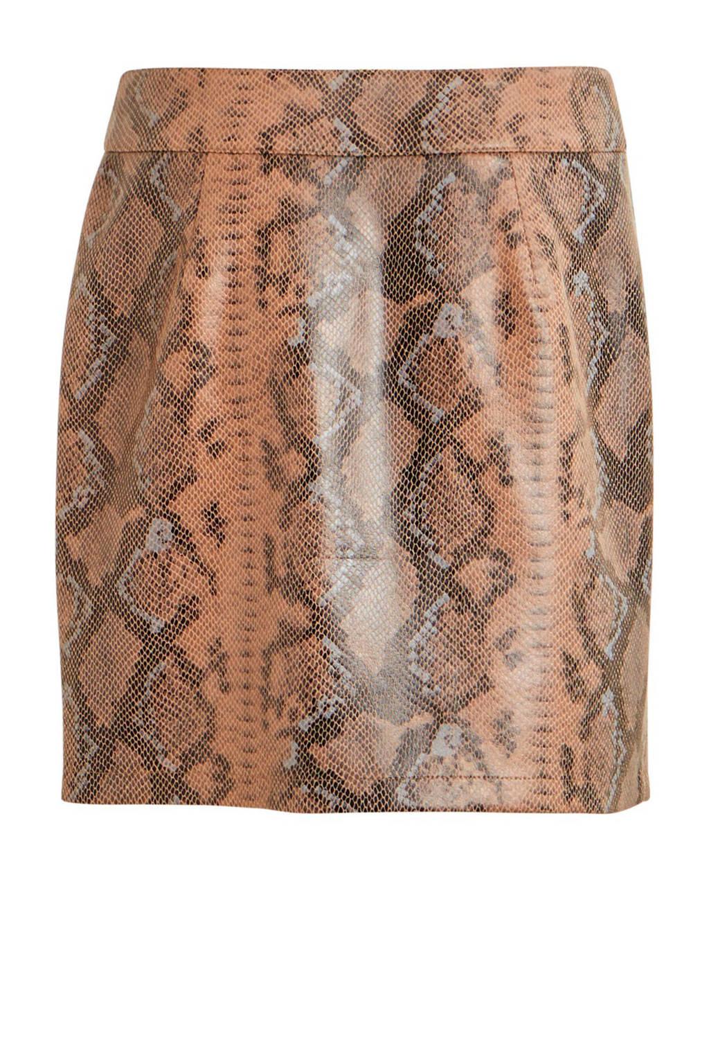 VILA coated rok met slangenprint bruin, Bruin