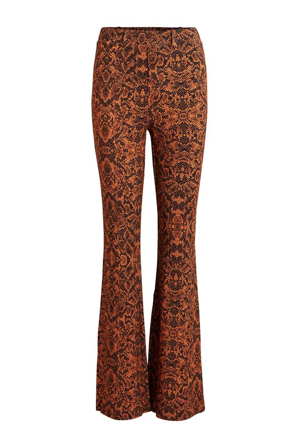 VILA x Sarah Chronis tijgerprint legging bruin, Bruin