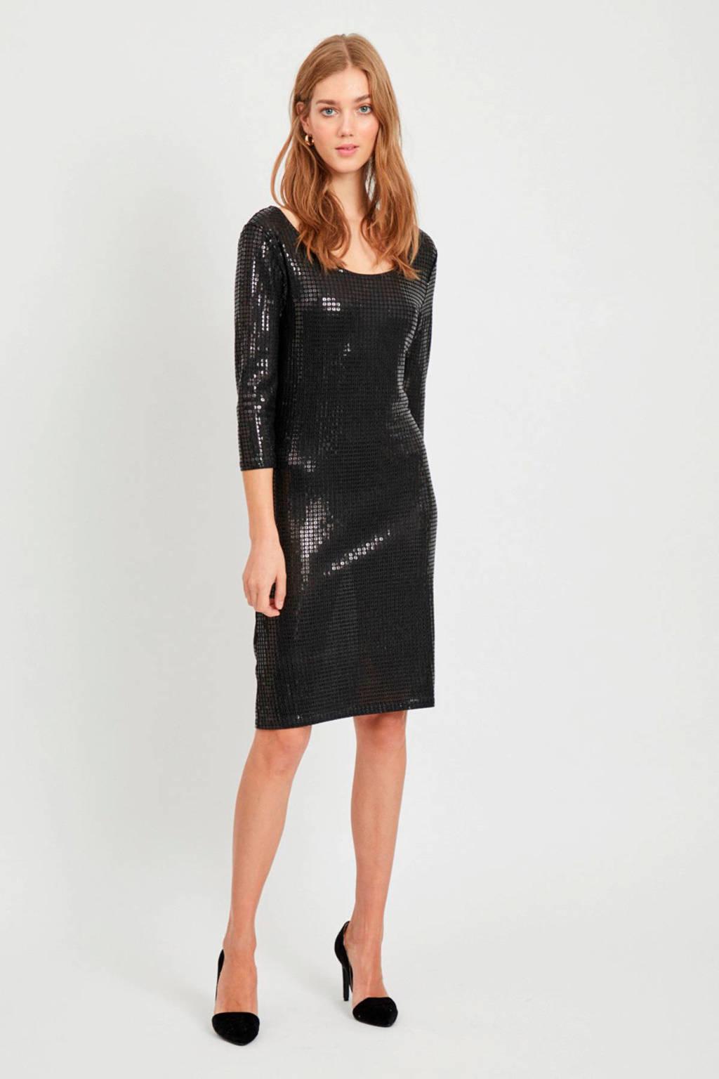 VILA jurk met pailletten zwart, Zwart