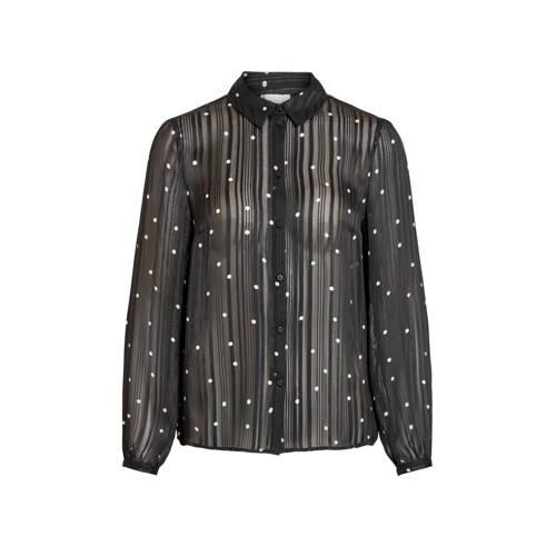 VILA semi-transparante blouse met stippen en glitt