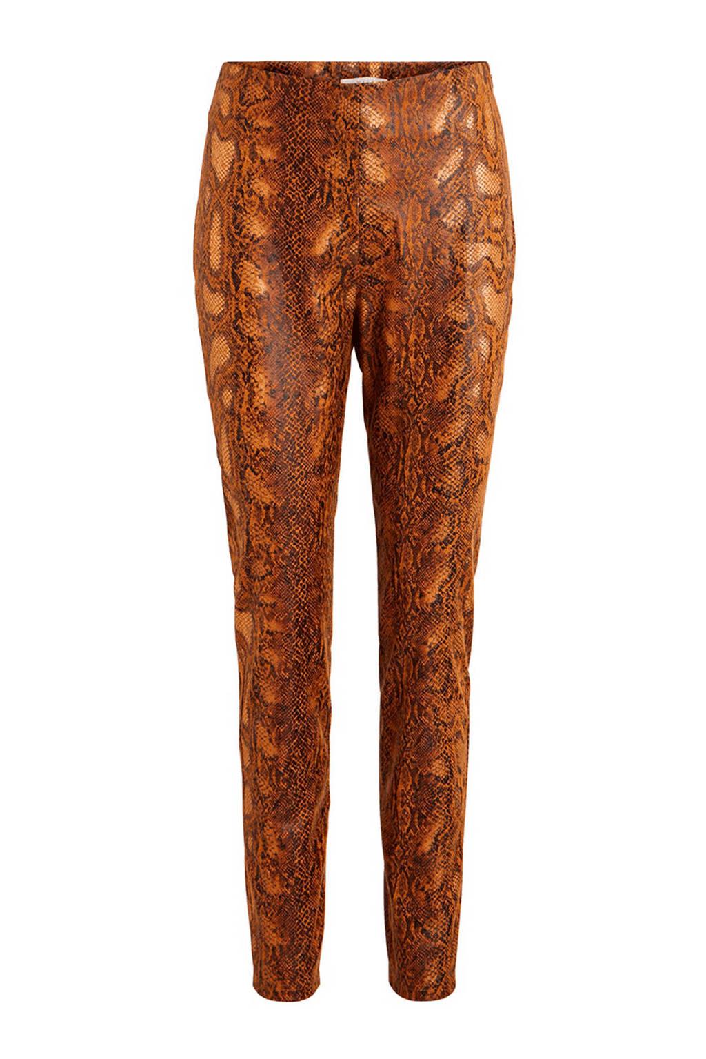 VILA legging met slangenprint bruin, Bruin