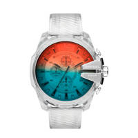 Diesel Mega Chief Heren Horloge DZ4515, RVS/blauw/rood