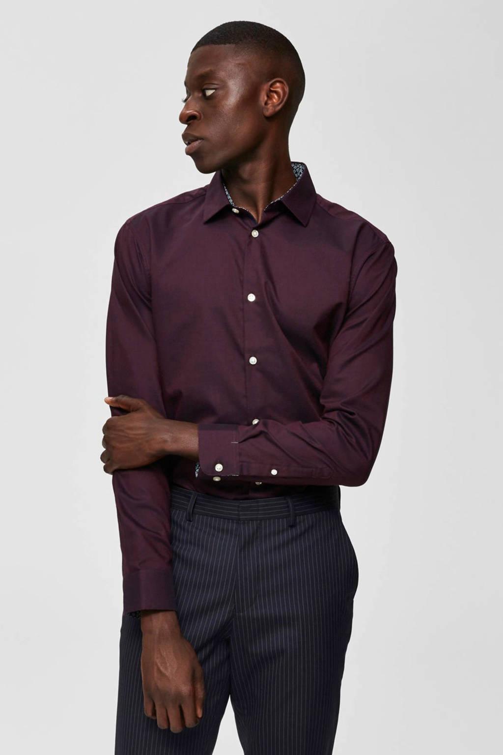 SELECTED HOMME slim fit overhemd donkerrood, Donkerrood