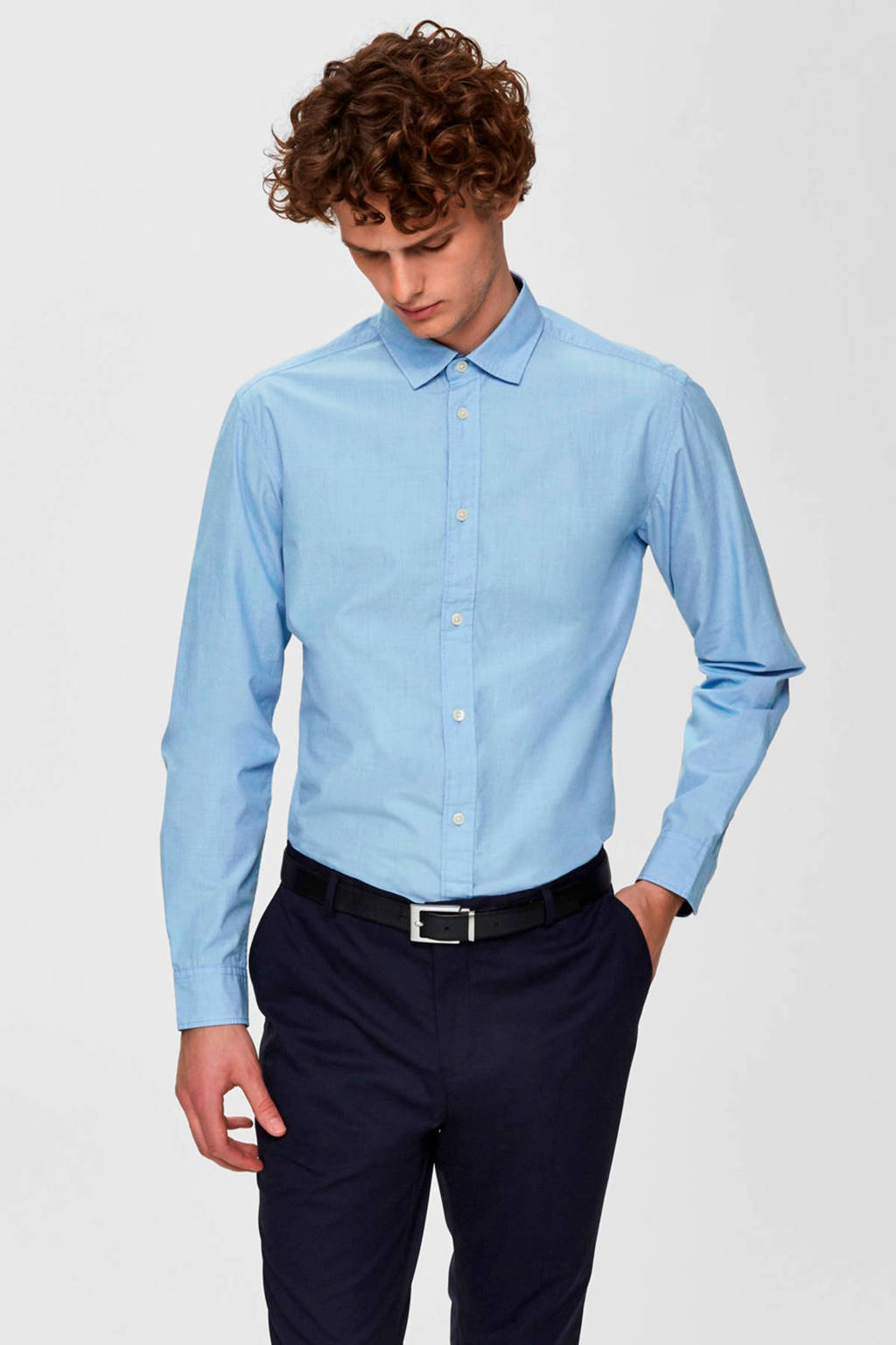 SELECTED HOMME slim fit overhemd lichtblauw, Lichtblauw