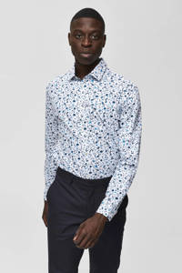 SELECTED HOMME slim fit overhemd met all over print wit/donkerblauw, Wit/donkerblauw