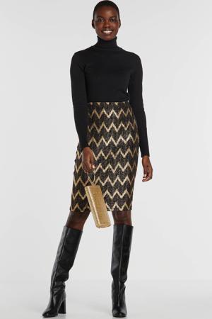 gevoerde rok in zwart met goudkleurige lurex