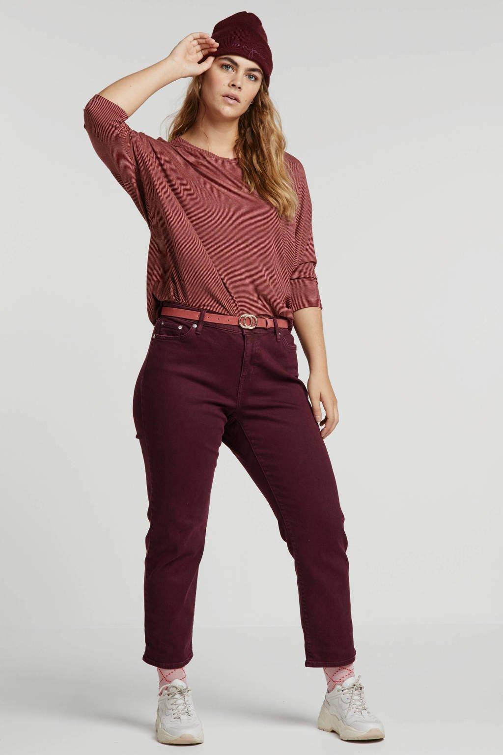 My True Me gestreept T-shirt roze, Rood