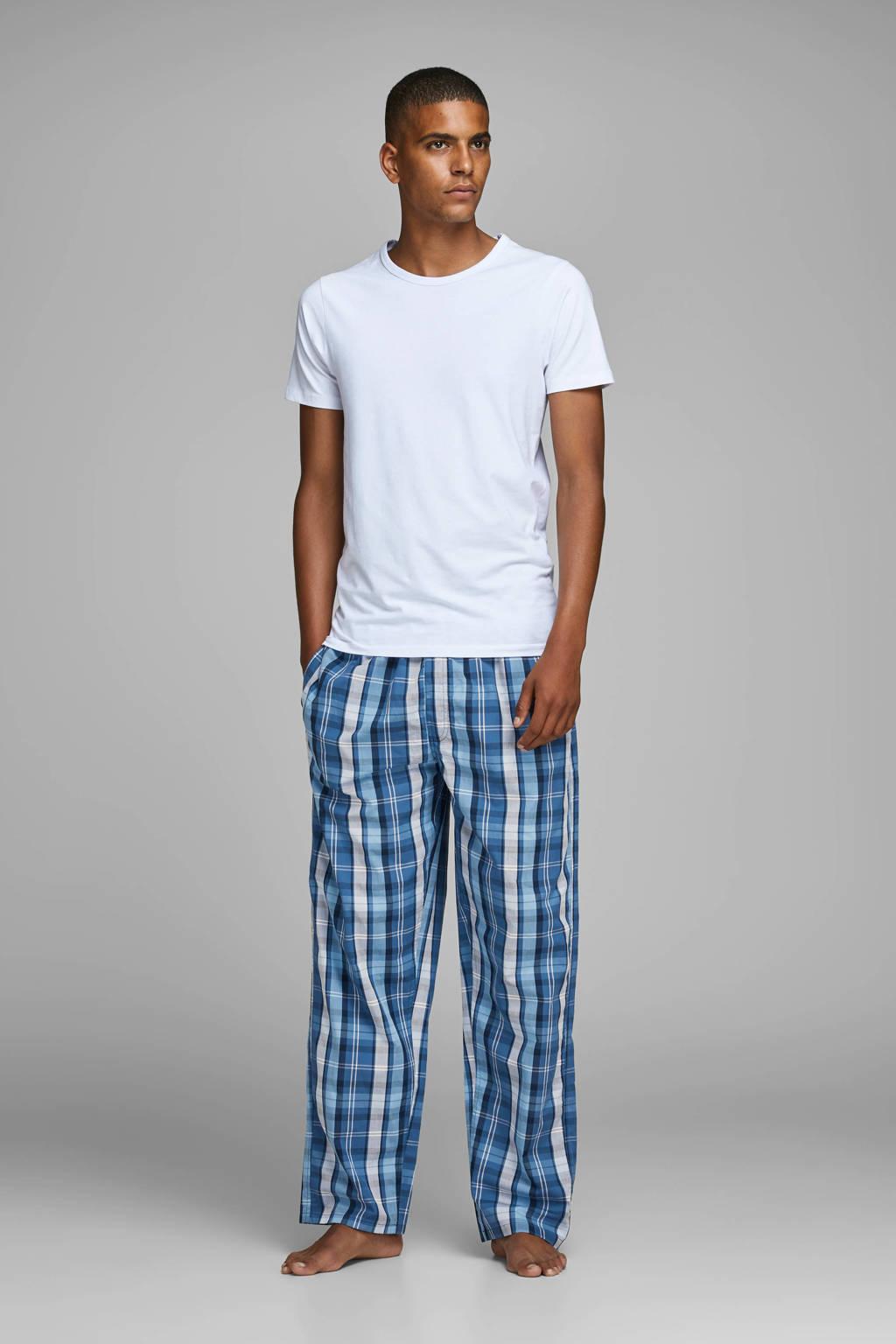 JACK & JONES geruite pyjamabroek blauw/wit, Blauw/wit