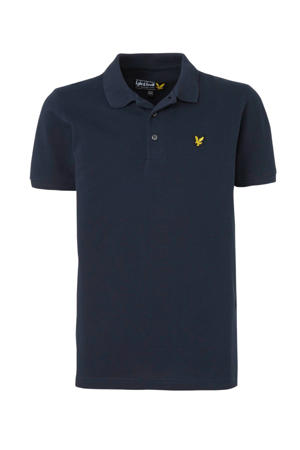 polo met borduursels donkerblauw