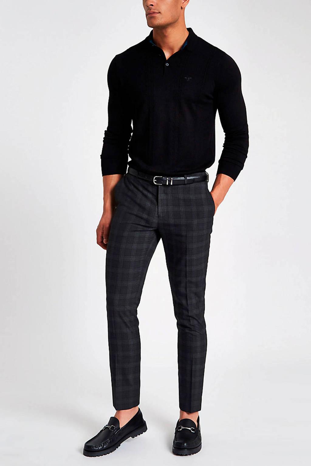 River Island slim fit pantalon met all over print grijs, Grijs