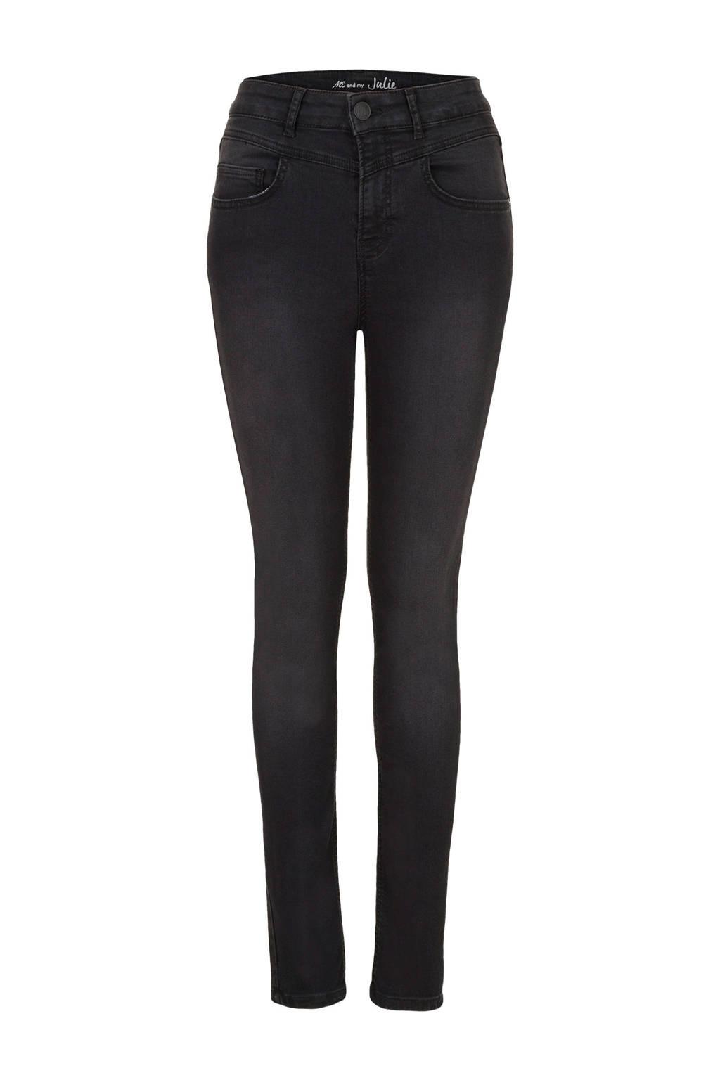 Miss Etam Regulier high waist skinny jeans zwart, Zwart