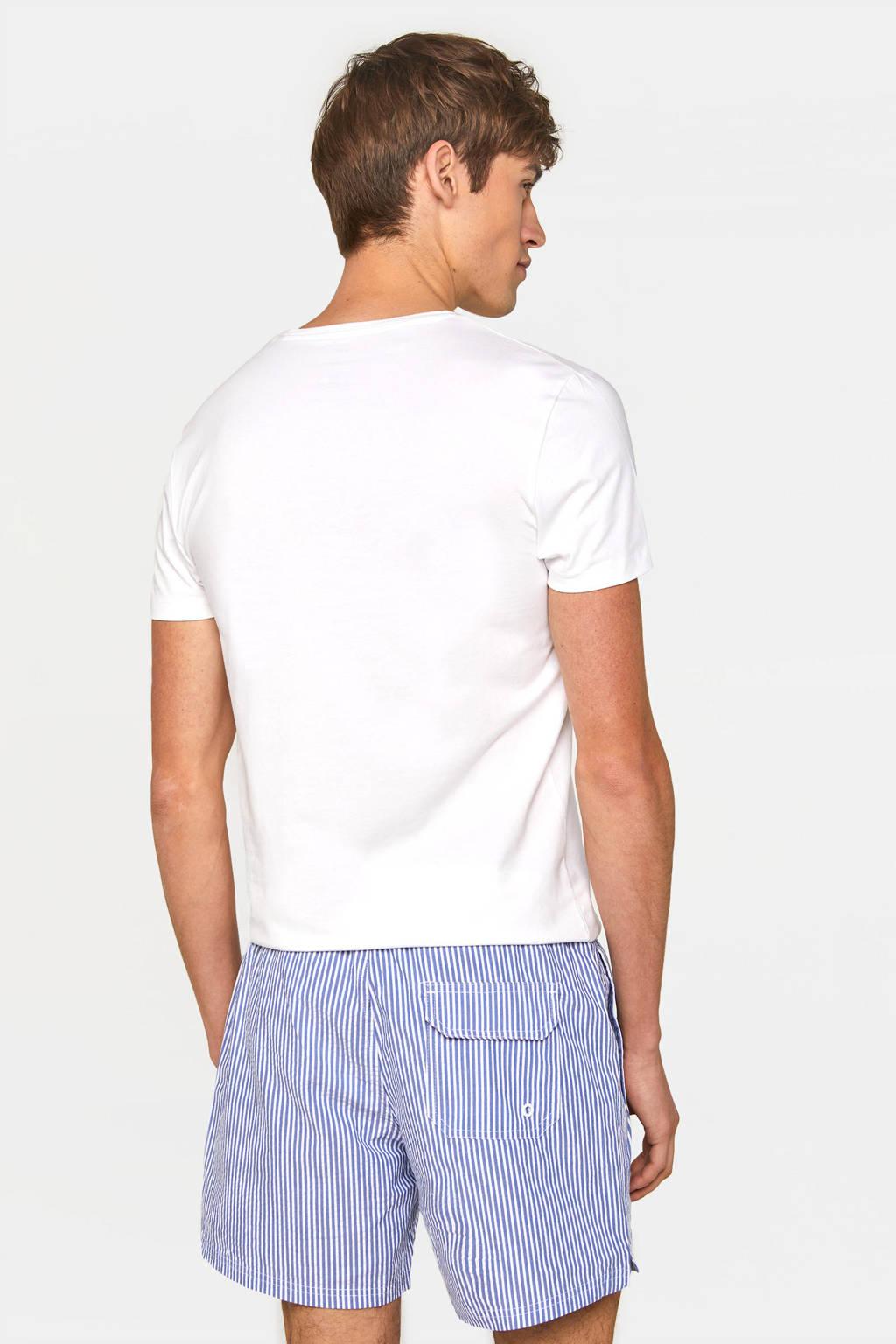 WE Fashion gestreepte zwemshort lichtblauw/wit, Lichtblauw/wit
