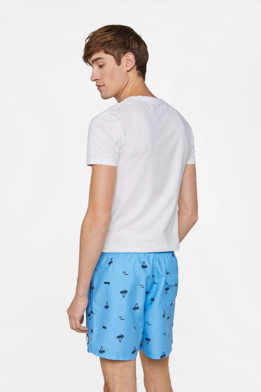 WE Fashion zwemshort met all over print blauw, Blauw / Zwart