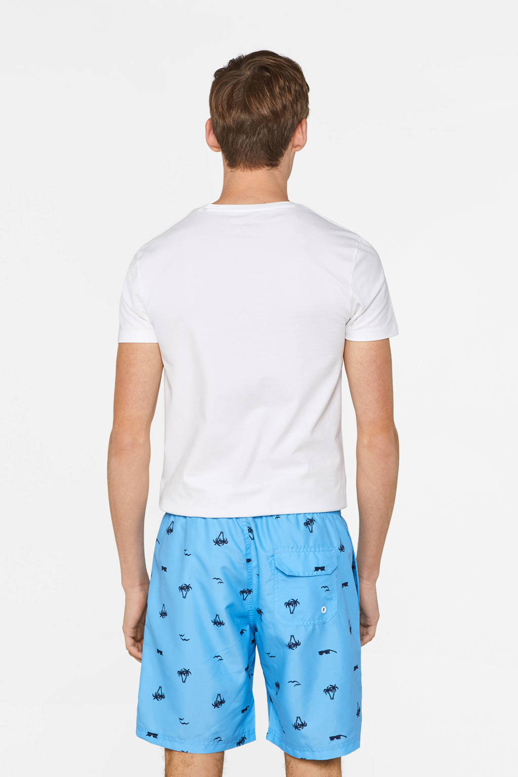 WE Fashion zwemshort met all over print blauw, Blauw