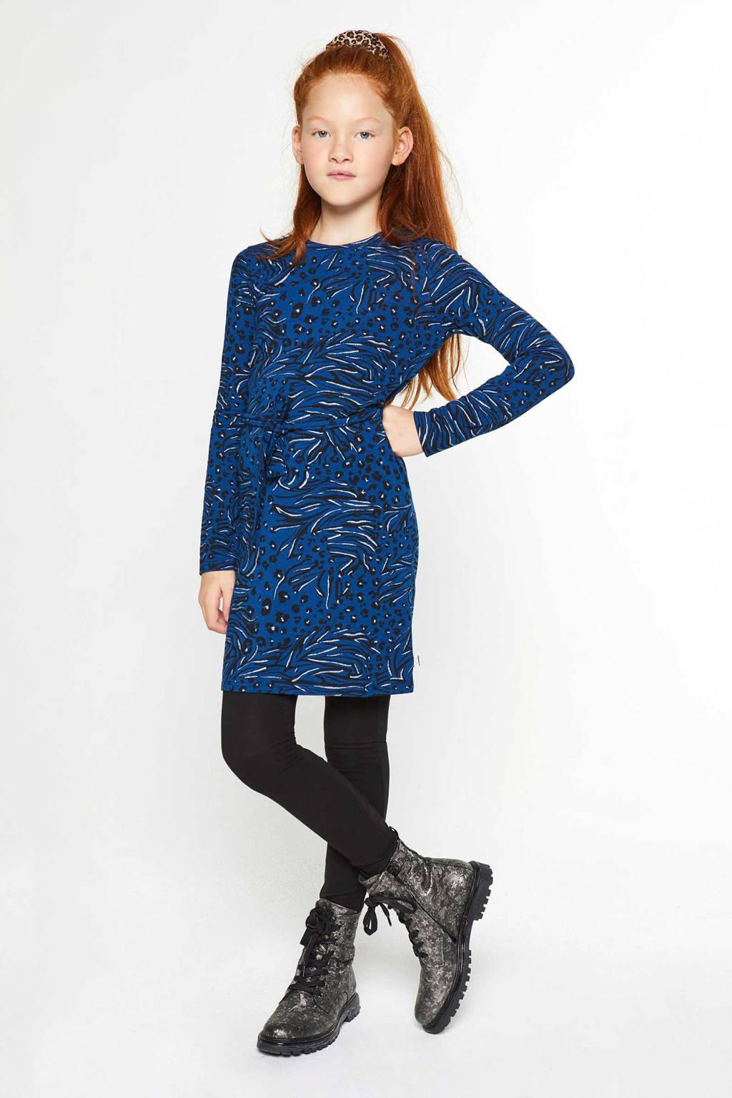 WE Fashion jersey jurk met all over print blauw/zwart/wit, Blauw/zwart/wit