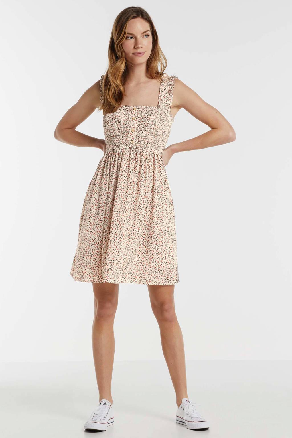anytime mini jurk met smok en bloemenprint ecru, Ecru