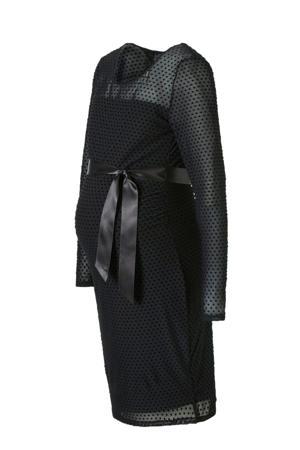 mesh zwangerschapsjurk met stippen zwart