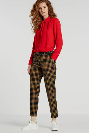 blouse met ruches rood