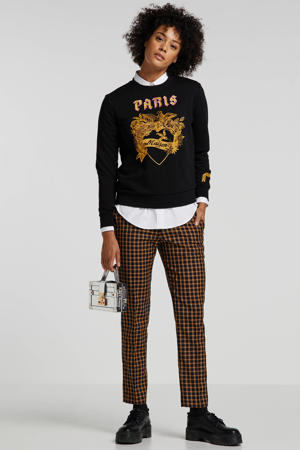 geruite regular fit pantalon zwart/bruin