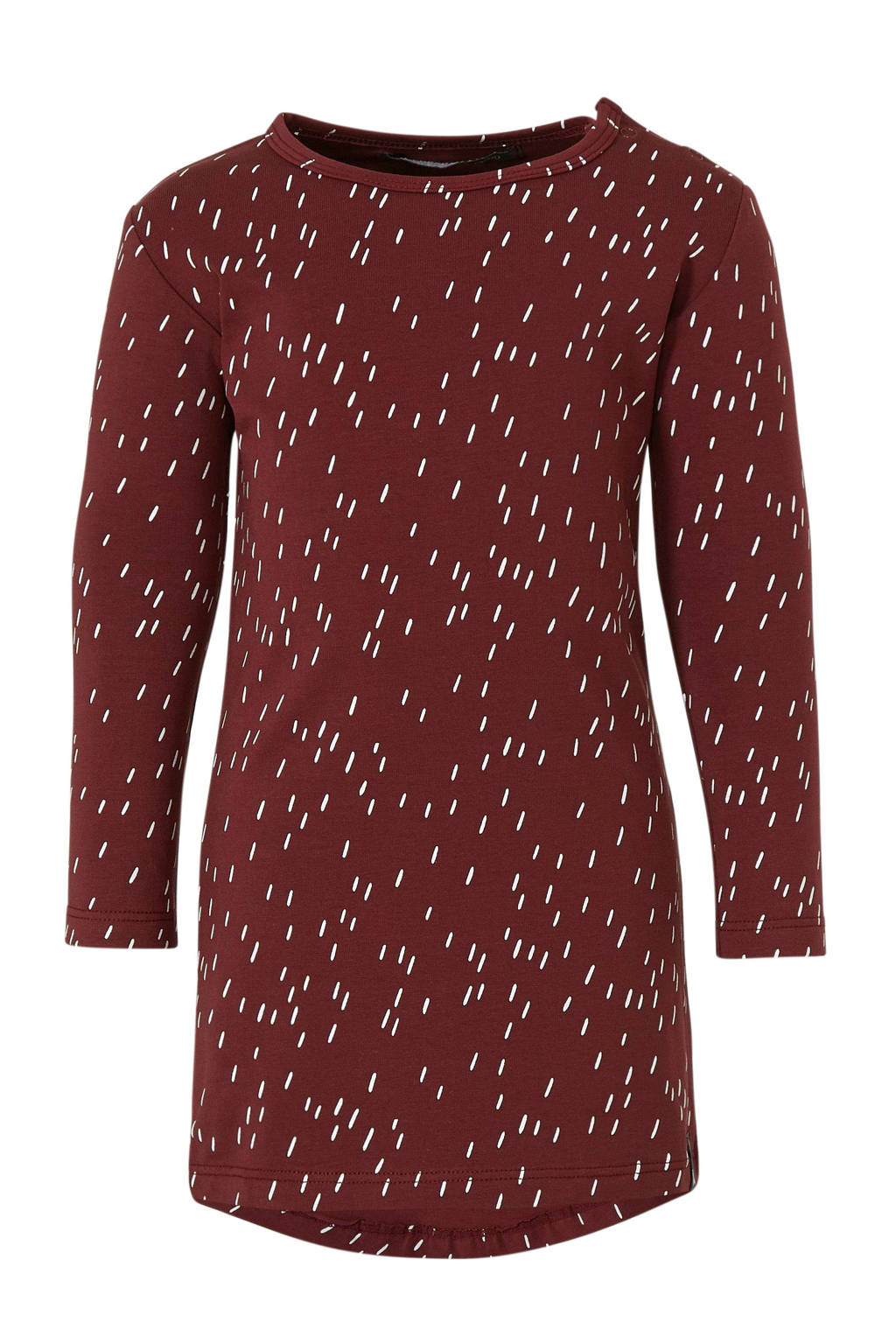 Your Wishes jersey jurk met all over print donkerrood/wit, Donkerrood/wit