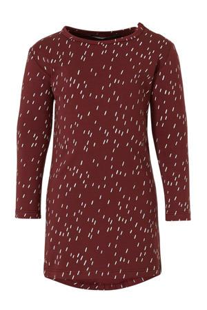 jersey jurk met all over print donkerrood/wit