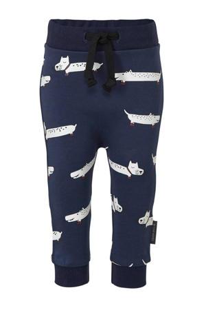 broek met all over print donkerblauw/wit/rood