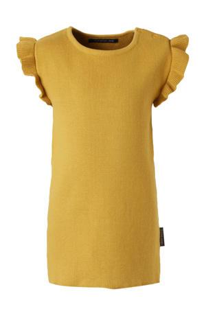 jurk met ruches okergeel