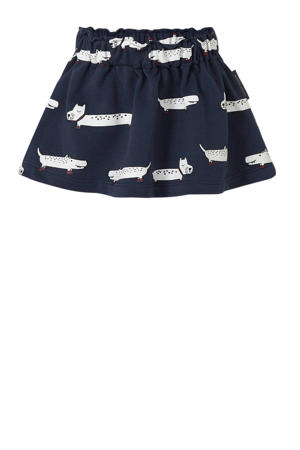 rok met all over print donkerblauw/wit/rood