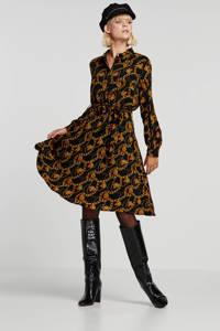 Smashed Lemon jurk met all over print en ceintuur zwart/goud, Zwart/goud