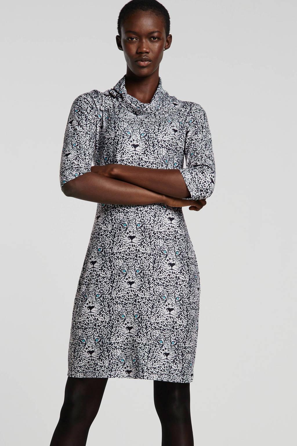 Smashed Lemon jersey jurk met all over print ecru, Ecru