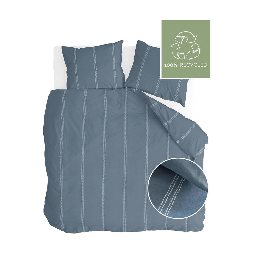 Walra Gerecycled materiaal (duurzaam) dekbedovertrek lits-jumeaux, Blauw, Lits-jumeaux (240 cm breed)