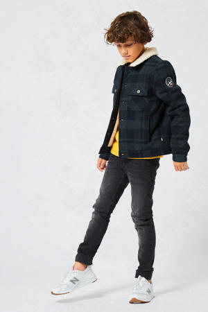 geruite winterjas met wol donkerblauw/zwart