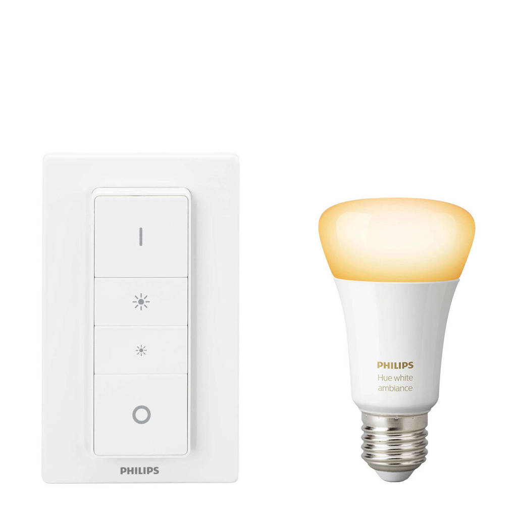 Philips Hue white ambiance draadloze dimmerset E27 Bluetooth, Wit