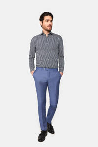 WE Fashion Van Gils slim fit overhemd met all over print royal navy, Royal Navy, Grafisch