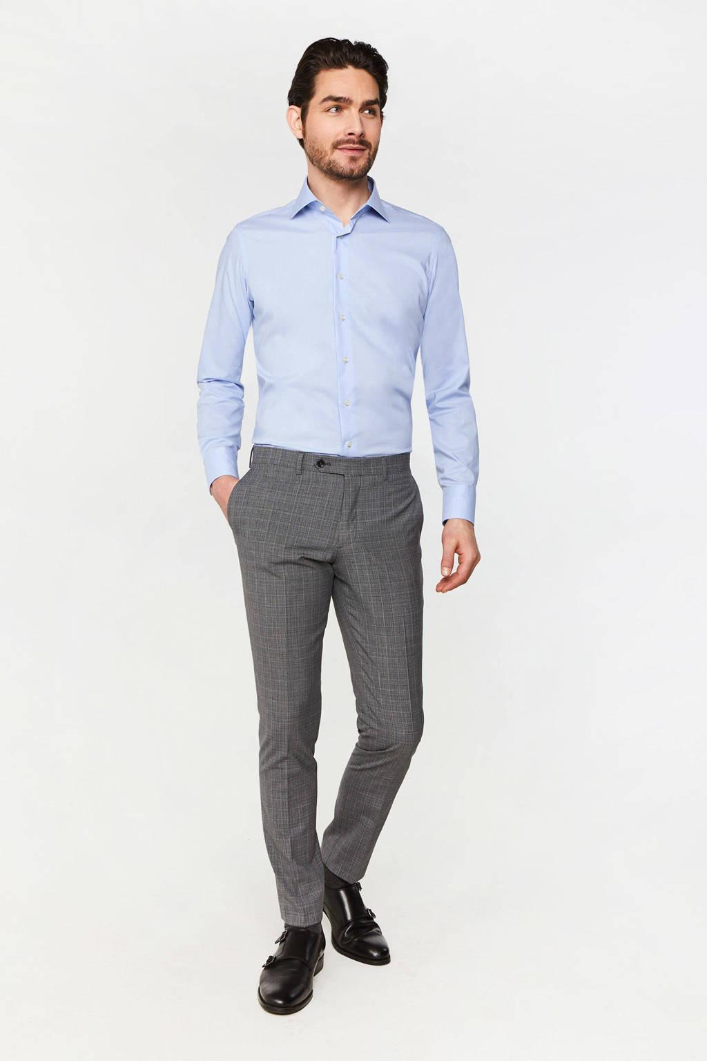 WE Fashion Van Gils geruit slim fit overhemd light blue, Light Blue, Uni
