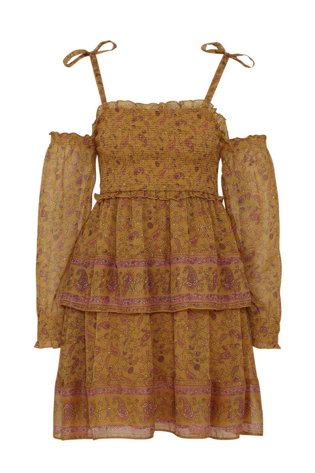 C&A Clockhouse semi-transparante jurk met all over print en volant oker multi, Oker multi