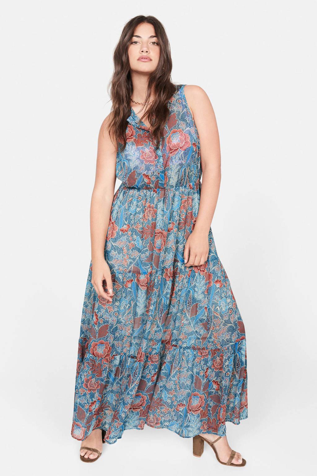 Violeta by Mango gebloemde maxi jurk middenblauw