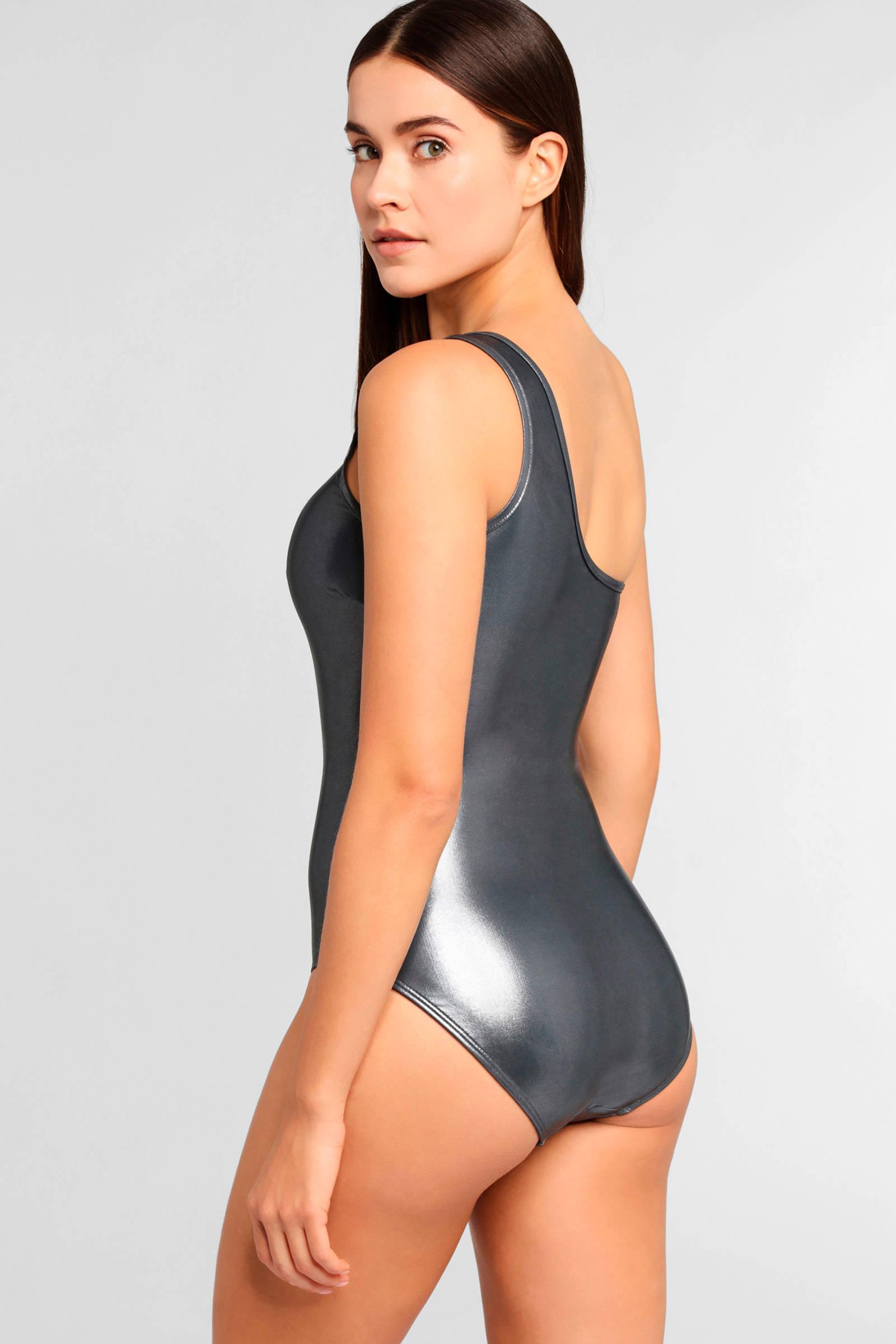 Mode Ruf zuerst der Verkauf von Schuhen one shoulder badpak grijs metallic