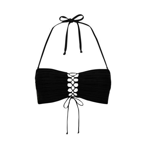 Lascana bandeau bikinitop met veterdetail zwart