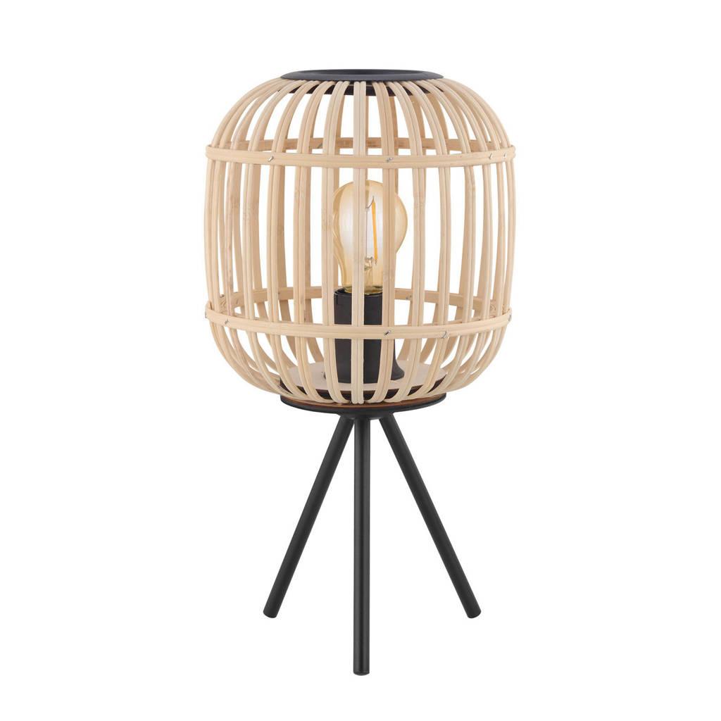 EGLO tafellamp Bordesley, zwart/natuur